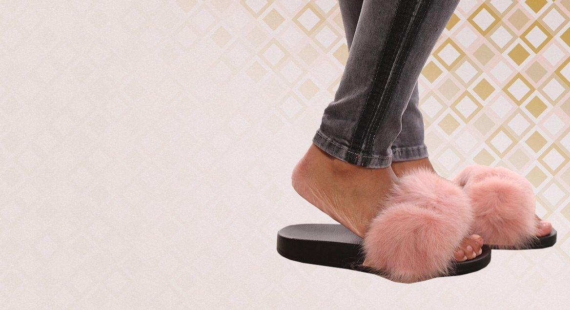 In 6 verschillende kleuren furry slippers